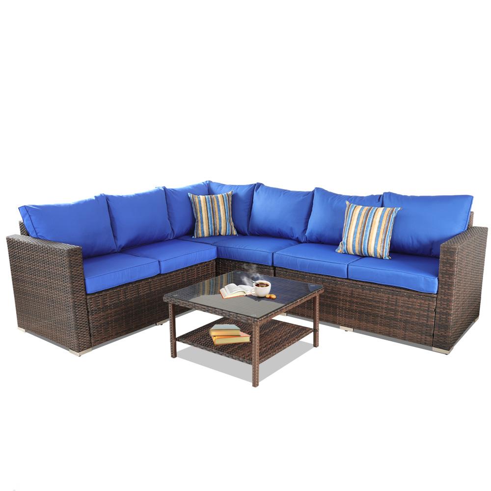Surprising Outdoor Furniture 4Pcs Sectional Rattan Sofa Dining Table Frankydiablos Diy Chair Ideas Frankydiabloscom